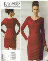 1328 sin Cortar Vogue Patrón de Costura Misses Forro Vestido Fruncido Ci... - $14.90