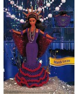 Mardi Gras Jamaica Gown Venice Travel Barbie 11-1/2 Doll Clothes Crochet... - $10.99