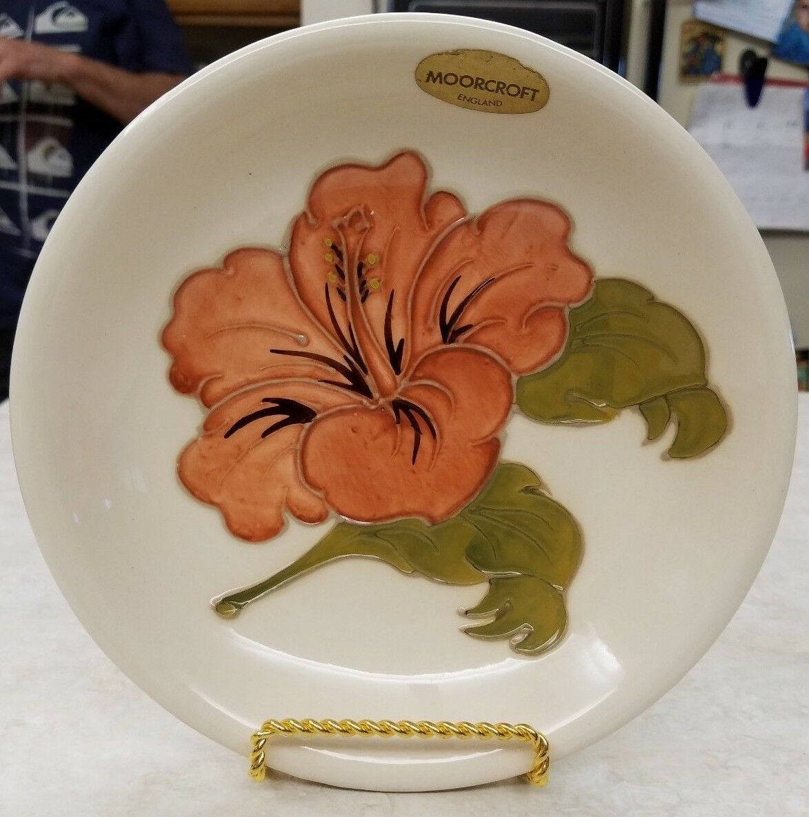 Primary image for Moorcroft England Art Pottery Hand Painted Hibiscus Bowl Labeled Monogrammed