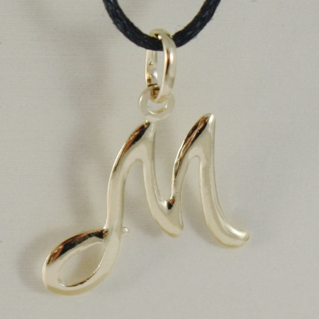 18K YELLOW GOLD PENDANT CHARM INITIAL LETTER M, MADE IN ITALY 1.0 INCHES, 25 MM