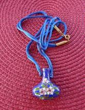 Blue Cloisonne Pendant Necklace Hollow Bottle Silk Cord Blue Pink Floral... - $42.00