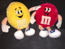 "2 M&M's Mars Plush Stuffed 1987 FUN FRIEND Yellow & Red Candy 12"" Tall - $16.82"
