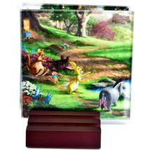 Thomas Kinkade Winnie the Pooh Prints 4 Piece Fused Glass Coaster Set w Holder image 4