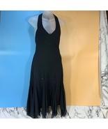 S. L. Fashions Petite Halter Dress V Neck Black Size 8P - $19.75