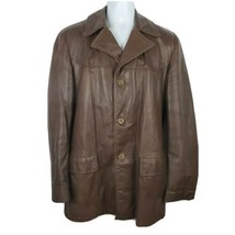 Cresco Vintage Brown Leather Jacket Mes Size 42 Long - $69.29