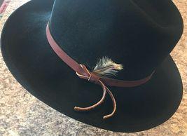 DORFMAN PACIFIC Fedora Black Wool Felt Velvet Hat Feather Sz M Brush Made USA image 3