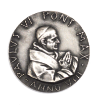 Vatican 1970 Silver Medal Paulus VI Pont Max Anno VIII 44mm Manfrini  - $59.39