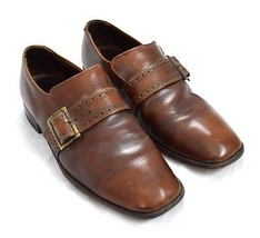 BOSTONIANS Perfect Distressed Cognac Brown Leather Belted Loafer Dress Shoes 8.5 - $14.84
