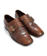 BOSTONIANS Perfect Distressed Cognac Brown Leather Belted Loafer Dress S... - $14.84