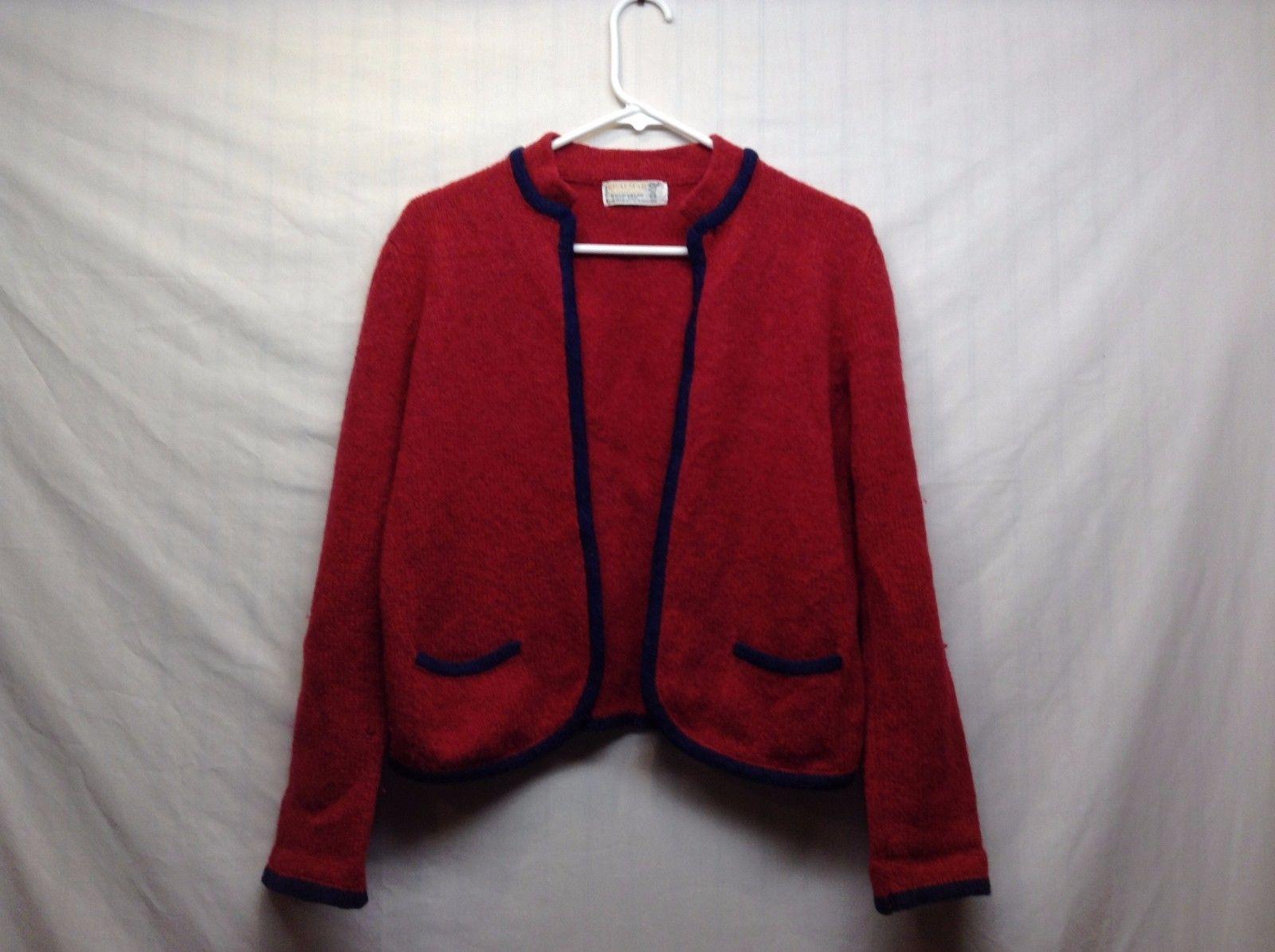 Vintage Braemar International Shetland Wool Hand Frame Knitted Red Jacket Sz 38