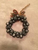 "Christmas Metal Silver Jungle Bell Wreath Decor Ornament 4"" Diameter - $3.33"