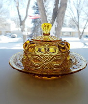 EYEWINKER Amber Butter Cheese Dish Repro Collectible Glass Orig Introduc... - $36.95