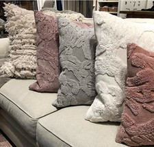 Pottery Barn Natalia Pillow Cover Alloy Gray 22 sq Silk Jacquard New - $59.50