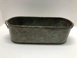 Hosley Solid Brass Oval Window Planter w/ Handles Green Embossed Leaves ... - $29.65