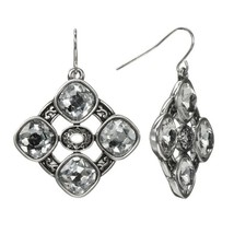 Trifari Silver Tone Simulated Crystal Octagonal Openwork Drop Earrings - $15.99