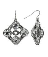 Trifari Silver Tone Simulated Crystal Octagonal Openwork Drop Earrings - $15.99