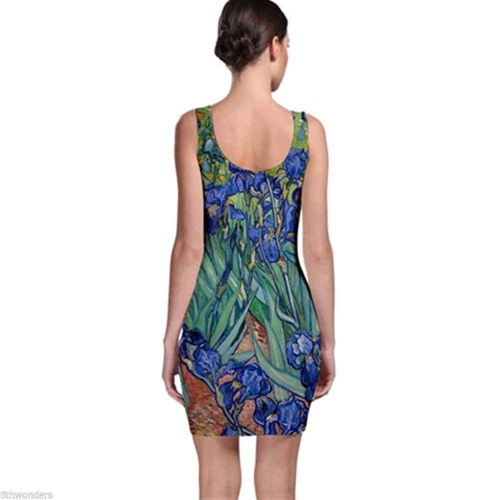 VINCENT VAN GOGH IRISES Bodycon Dress Choose XS S M L XL XXL XXXL