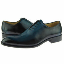 Blue Color Burnished Toe Handcrafted Men Stylish Lace Up Leather Oxford Shoes - $139.90+