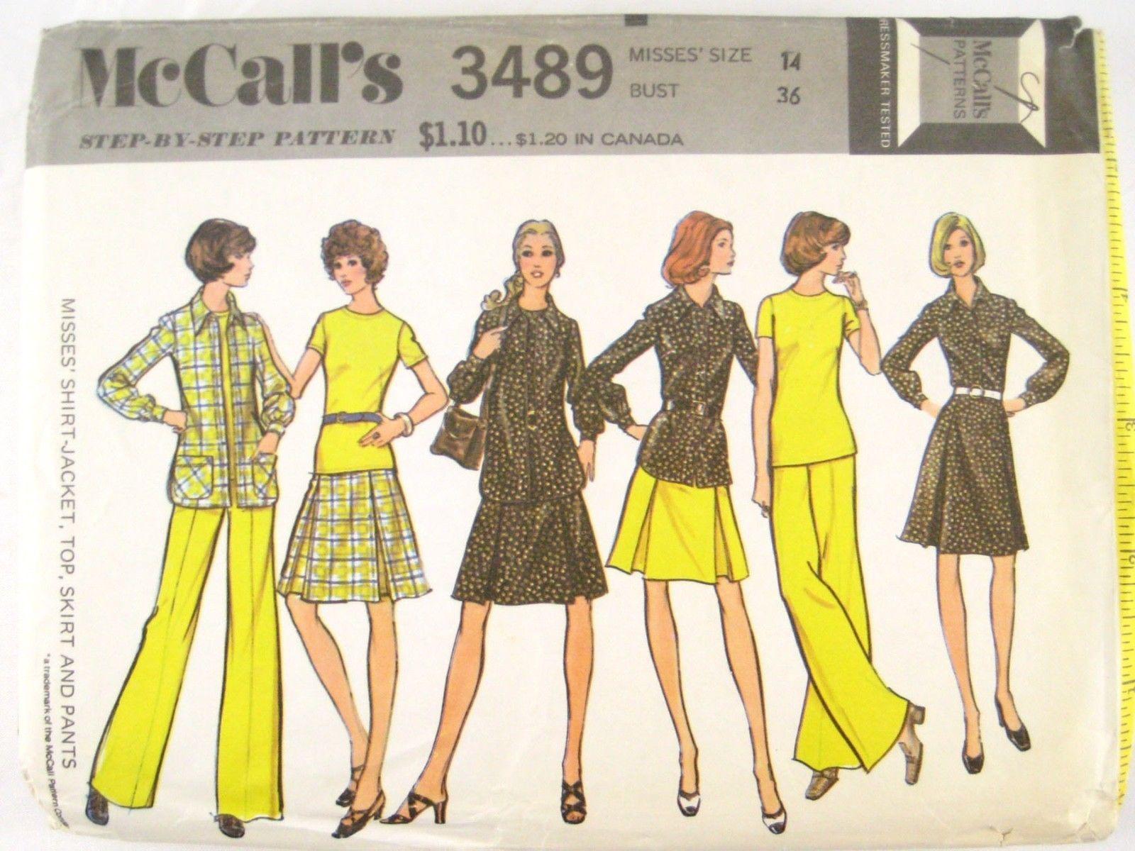 Vtg McCalls 3489 Misses Long Short Sleeve Shirt Top Flared Skirt Pants 14/36