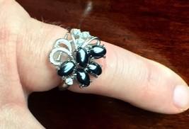 Delicate 14K WHITE GOLD Tahitian BLACK PEARL & Diamond Cluster Ring NWOT  - $218.24