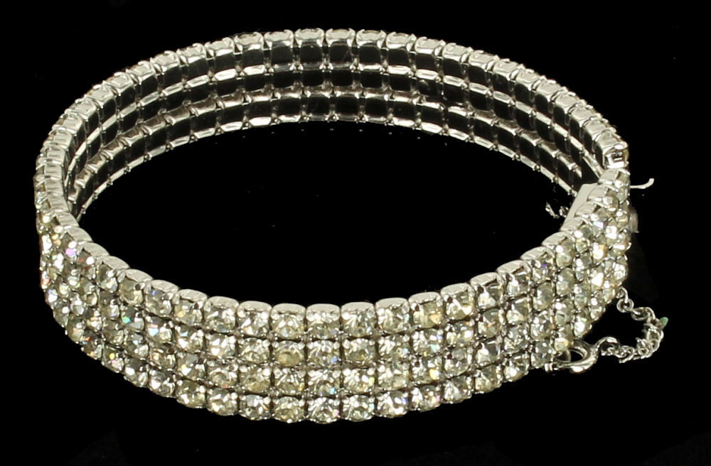 Vintage Beautiful 4 Row Shiny Rhinestones Silver Tone Stiff Bangle Bracelet 6.75