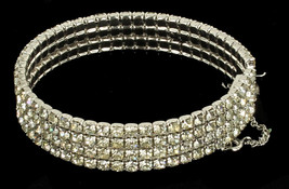 Vintage Beautiful 4 Row Shiny Rhinestones Silver Tone Stiff Bangle Brace... - $67.49