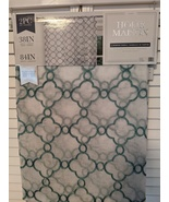 Home Maison Diana White/Teal/Metallic Embroidered Rod Pocket Panels Pair... - $38.00