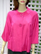 RELATIVITY Bright Raspberry Pink Acetate Blend 3/4 Sleeve Swing Jacket (... - $24.40