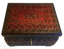 MilmaArtGift Handmade Wooden Hearts Chest Box w/Lock & Key Polish Linden Wood Je - $41.57