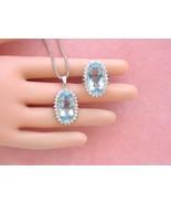 ESTATE 22+ctw OVAL AQUAMARINE 2ctw DIAMOND WHITE 18K RING & PENDANT NECK... - $6,335.01