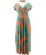 IMAN Boho Chic Maxi Dress Head Wrap Orange Palm 1X Avg NEW 692-183 - $20.77