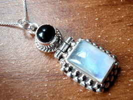 Black Onyx and Moonstone Necklace 925 Sterling Silver Dot & Rope Style A... - $27.71