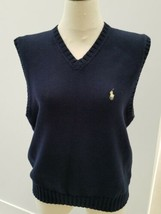 POLO by RALPH LAUREN Sweater Vest Cream Navy  Men's Size M 100% Cotton - $19.79