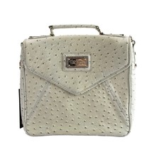Christian Audigier Grey Ostrich Faux Leather Claudia Satchel Shoulder Bag NWT - $119.60