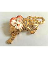 Large Vintage jaguar big cat cut out enamel pansy flower brooch pin gold... - $14.84