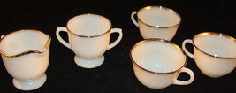 Anchor Hocking Fire King White Swirl with Gold Rim Creamer and Sugar + 3... - $10.00