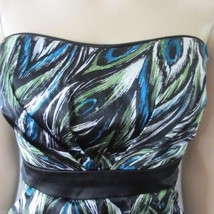 Peacock Feathers Print Strapless Mini Dress Sz 13 Jrs. * - $22.27