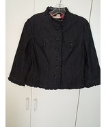 SANDRO CUTE LADIES STRETCH 3/4-SLEEVE BUTTON JACKET/TOP-PM-WORN ONCE-UNL... - $9.89