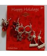 New! Set of 3 Happy Holidays Nickel Free Earrings Santa Hat, Jingle Bell... - $7.99