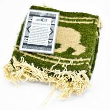 Handmade Zapotec Indian Weaving Hand-Woven Bear Green Wool Coaster Set of 4 image 2