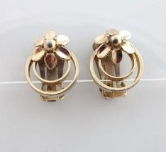 Coro Earrings Gold Clip On Backs Circles Flower Floral 9032 - $9.90