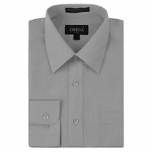 Omega Italy Men's Light Gray Dress Shirt Long Sleeve Regular Fit w/ Defect - L