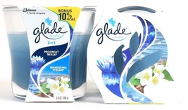 2 Glade 3.8 Oz 2 In 1 Moonlit Walk & Wondering Stream Scented Glass Candles - $16.99