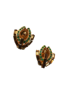 60s Amber Baguette Green Crystal Rhinestone Art Deco Vintage Clip On Ear... - $30.00