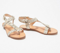 Vince Camuto Leather Studded Sandals Ravensa Taupe Shine 8 M - $49.49