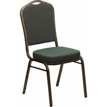 Offex Green Fabric Crown Back Stacking Banquet Chair with Gold Vein Frame - $58.86