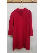 VTG KAREN Red Wool Full Length Winter Coat Button Up LARGE Size 9/10 Coat - $21.04