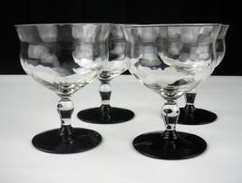 Weston Black Amethyst Diamond Optic Sherbet Champagne Glasses Set, Elega... - $39.83