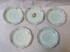Set of 5 ADAMS China Tea Saucers ALLEGRO Style Light Green & Flowers - £21.40 GBP