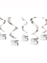 25th Wedding Anniversary Birthday Streaming silver Foil Swirls Party Dec... - $5.47